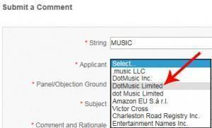 Submit Comment - Select Applicant (DotMusic Limited)
